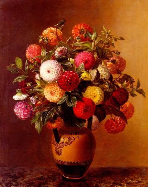 Still Life Of Dahlias In A Vase